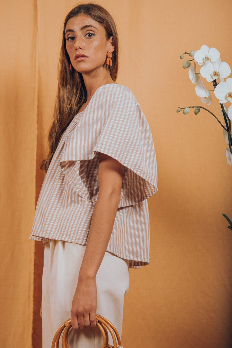 VOLVORETA top in tan stripes - blueanemone