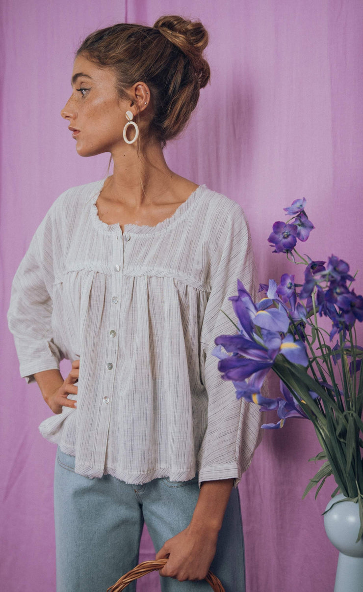 blue anemone sustainable slow fashion boho bohemian, peasant boho blouse bohemian folk edwardian victorian hippie flowy drapey billowy poet artist painter yoke blouse 70s stripes summer top, joy blouse in blue stripes