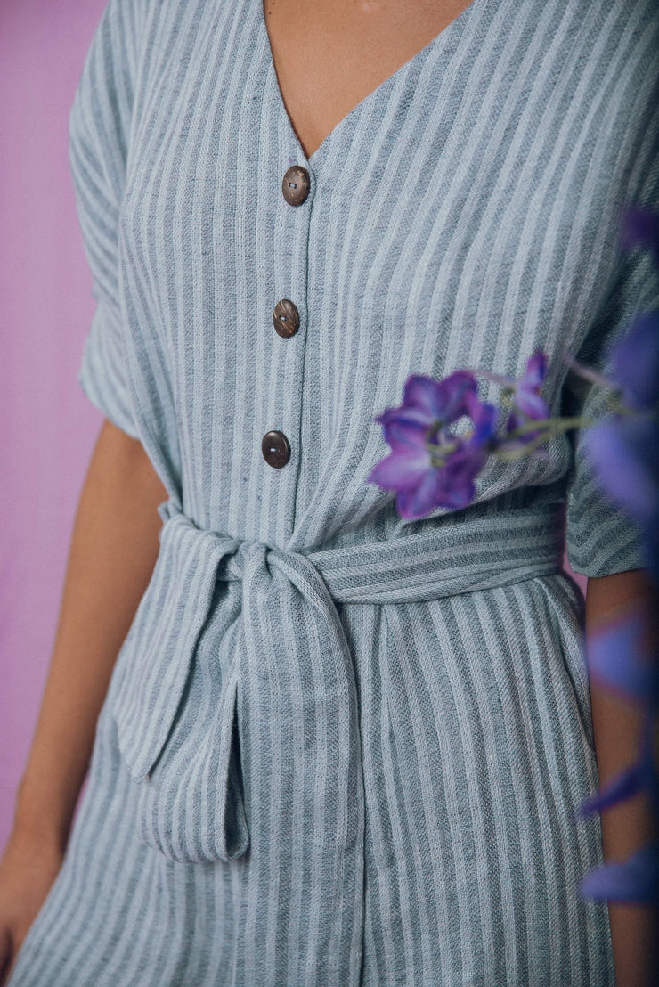 blue anemone sustainable slow fashion boho bohemian, linen jumpsuit, jumpsuit, linen clothing,linen womens clothing, wrapped jumpsuit, playsuit, maxi jumpsuit, long jumpsuit,linen culottes, pomelo jumpsuit in blue stripes