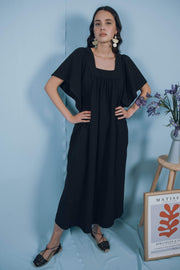 blue anemone sustainable slow fashion boho bohemian boho maxi dress black bohemian peasant mexican ethnic folk gypsy hippie prairie 70s earthy long summer black dress tunic kaftan ave del paraiso dress in black