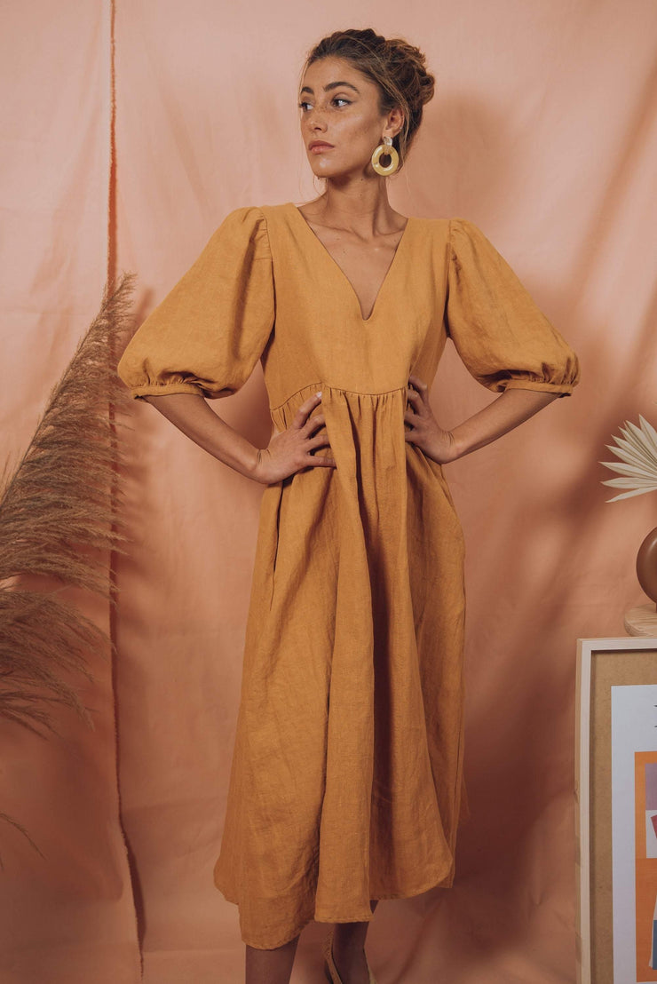 blue anemone sustainable slow fashion boho bohemian, linen dress, prairie peasant folk puffed puffy puff sleeves summer midi boho dress linen clothing women, rosas dress in ochre