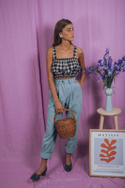 blue anemone sustainable slow fashion boho bohemian, high waisted jeans wide leg boho bohemian pleated slouchy 80s 90s wide leg vintage style pants trousers jeans, birkin jeans