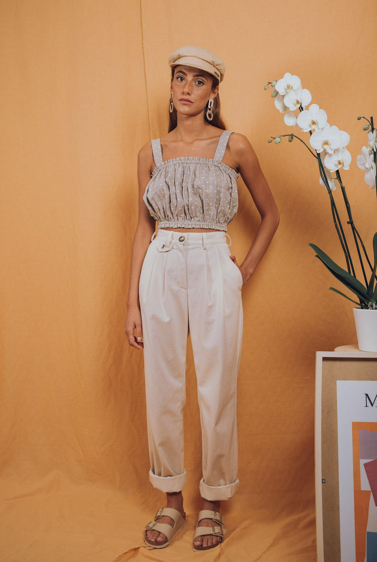 blue anemone sustainable slow fashion boho bohemian, high waisted pants white linen wide leg boho bohemian pleated slouchy 80s 90s wide leg vintage style white linen pants trousers, birkin pants in natural