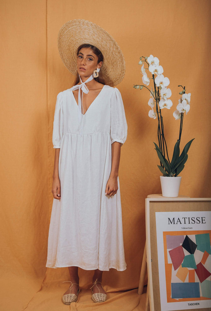 blue anemone sustainable slow fashion boho bohemian, linen dress, prairie peasant folk puffed puffy puff sleeves summer midi boho dress linen clothing women, rosas dress in white