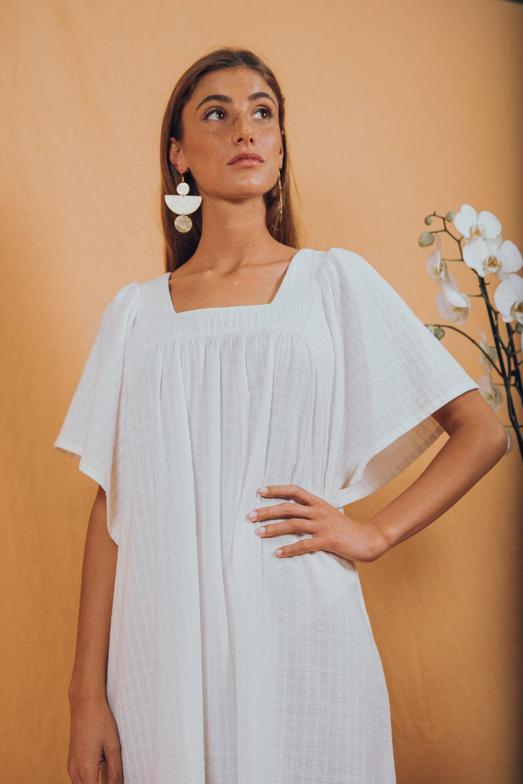 blue anemone sustainable slow fashion boho bohemian boho maxi dress black bohemian peasant mexican ethnic folk gypsy hippie prairie 70s earthy long summer black dress tunic kaftan ave del paraiso dress in white
