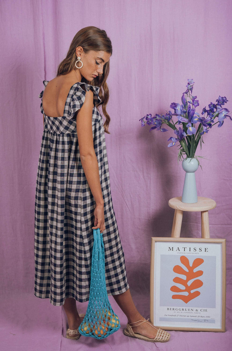 blue anemone sustainable slow fashion boho bohemian, ruffle boho dress 70s pinafore linen dress romantic hippie 60s peasant folk bohemian vintage inspired summer countryside midi maxi dress, orchid dress in blue gingham