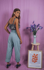 blue anemone sustainable slow fashion boho bohemian, linen dress, crop linen top bandeau boho summer cropped boho chic clothing 70s vintage inspired peasant folk romantic top, rose crop top in gingham