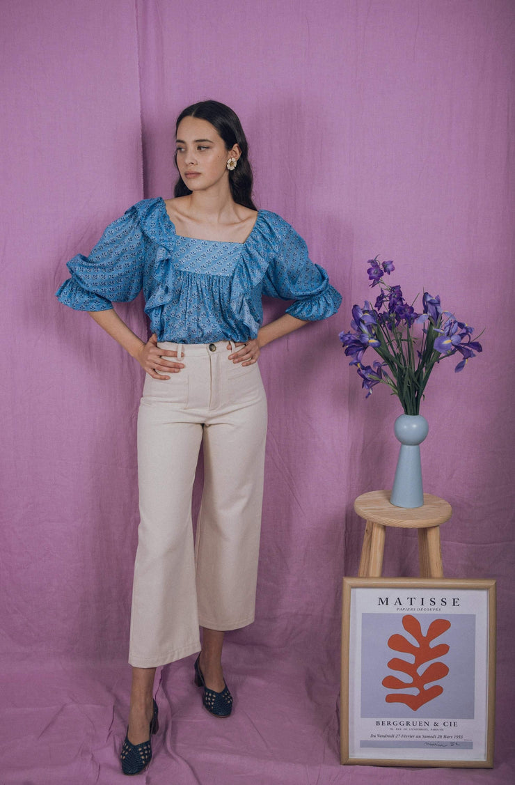 blue anemone sustainable slow fashion boho bohemian, puff boho blouse peasant folk puffy sleeve edwardian poet artist painter victorian 70s bohemian romantic ruffle white summer top, delphine blouse in blue flower