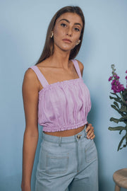blue anemone sustainable slow fashion boho bohemian, linen dress, crop linen top bandeau boho summer cropped boho chic clothing 70s vintage inspired peasant folk romantic top, rose crop top in sweet lilac