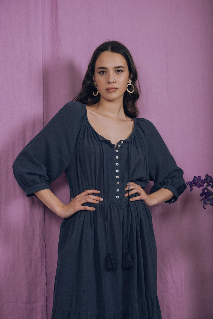 blue anemone sustainable slow fashion boho bohemian, boho maxi dress, black maxi dress, prairie folk dress, peasant dress, maxi dress, gypsy dress, hippie dress, black maxi dress, 70s dress, azahar dress in teal