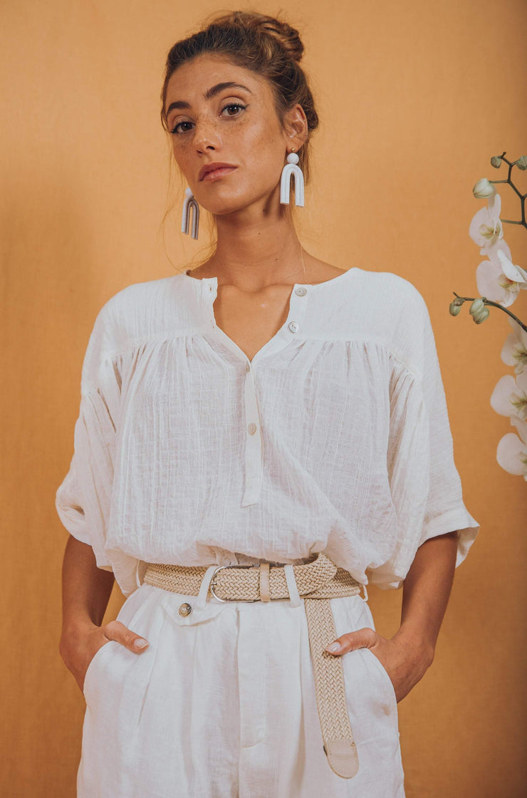 blue anemone sustainable slow fashion boho bohemian, high waisted pants white linen wide leg boho bohemian pleated slouchy 80s 90s wide leg vintage style white linen pants trousers, birkin pants in white