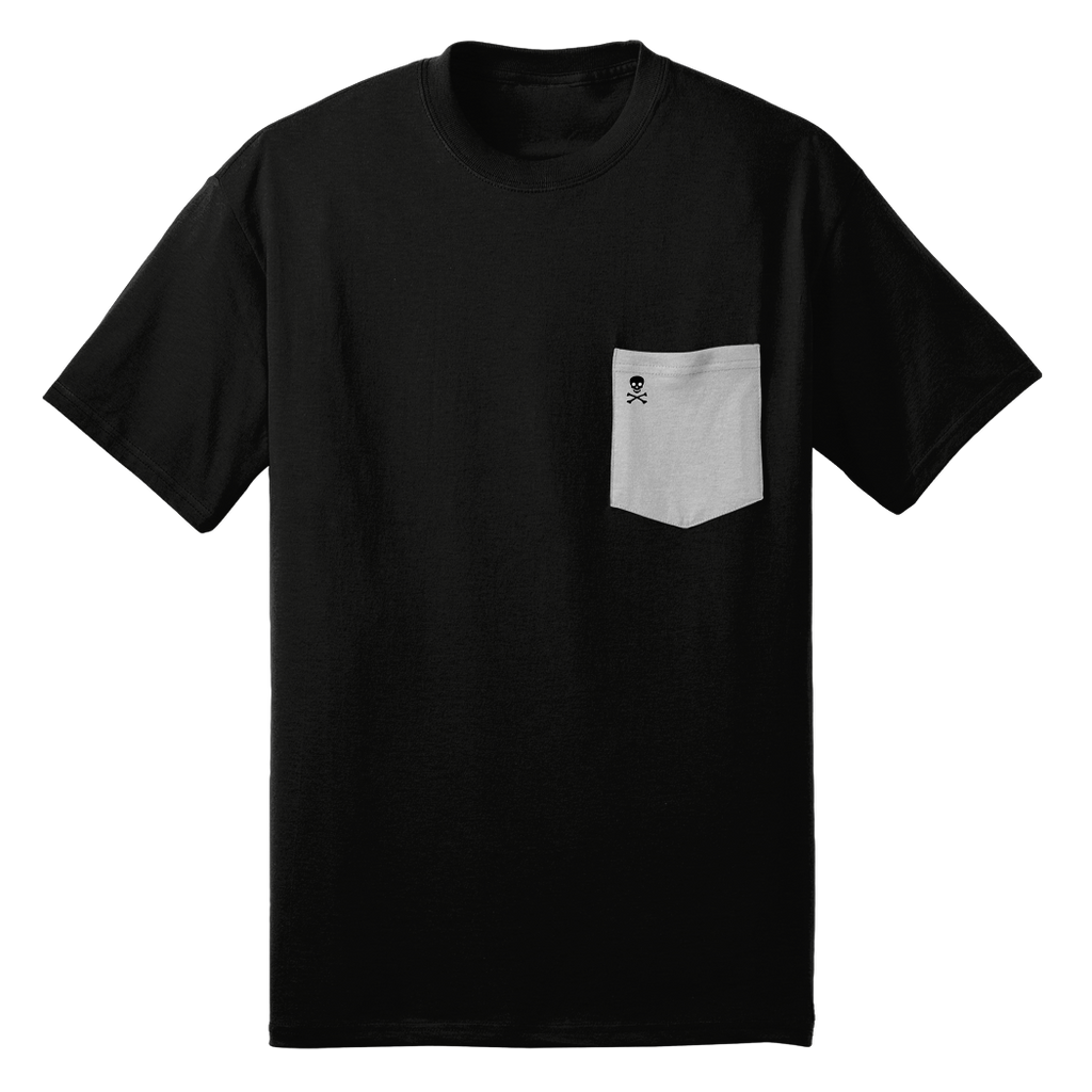 Black/ Grey Logo Patch Pocket Tee - RobbNPlunder