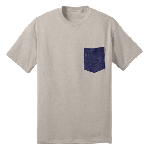 Grey/Navy Logo Patch Pocket Tee - RobbNPlunder