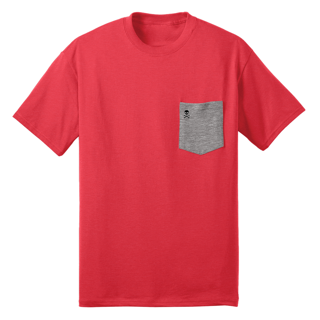 Red/Grey Logo Patch Pocket Tee - RobbNPlunder