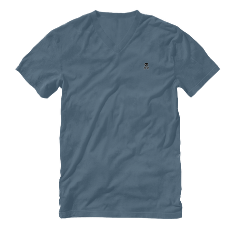 Logo Patch V-Neck Tee - Steel Blue - RobbNPlunder