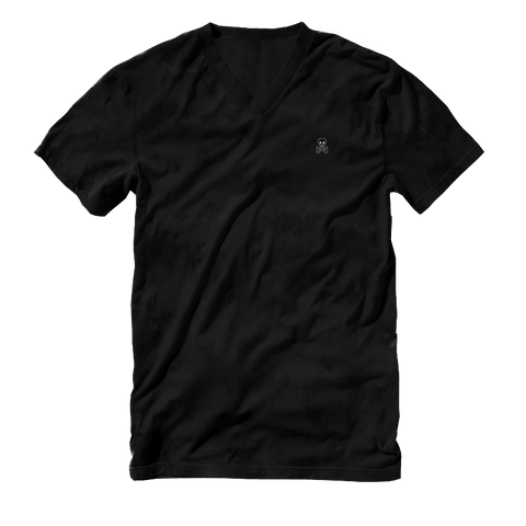 Logo Patch V-Neck Tee - Black - RobbNPlunder
