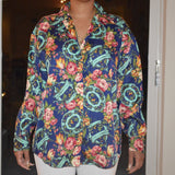 A65) Navy Flower Garden Top
