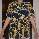A79) Dark Gold Chain Top