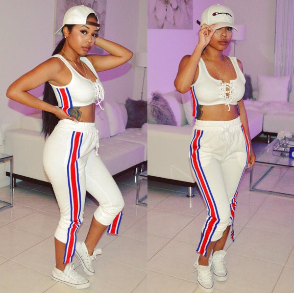 Striped Ribbon Jogger Set