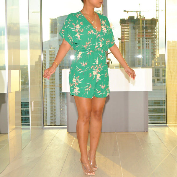 Green Flower Romper