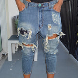 Slouchy Distressed Dark Denim Jeans 26