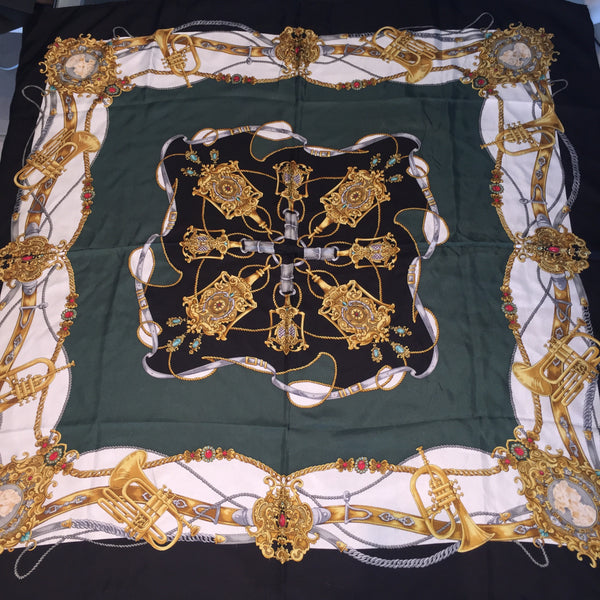 1C) Green Gold Black scarf