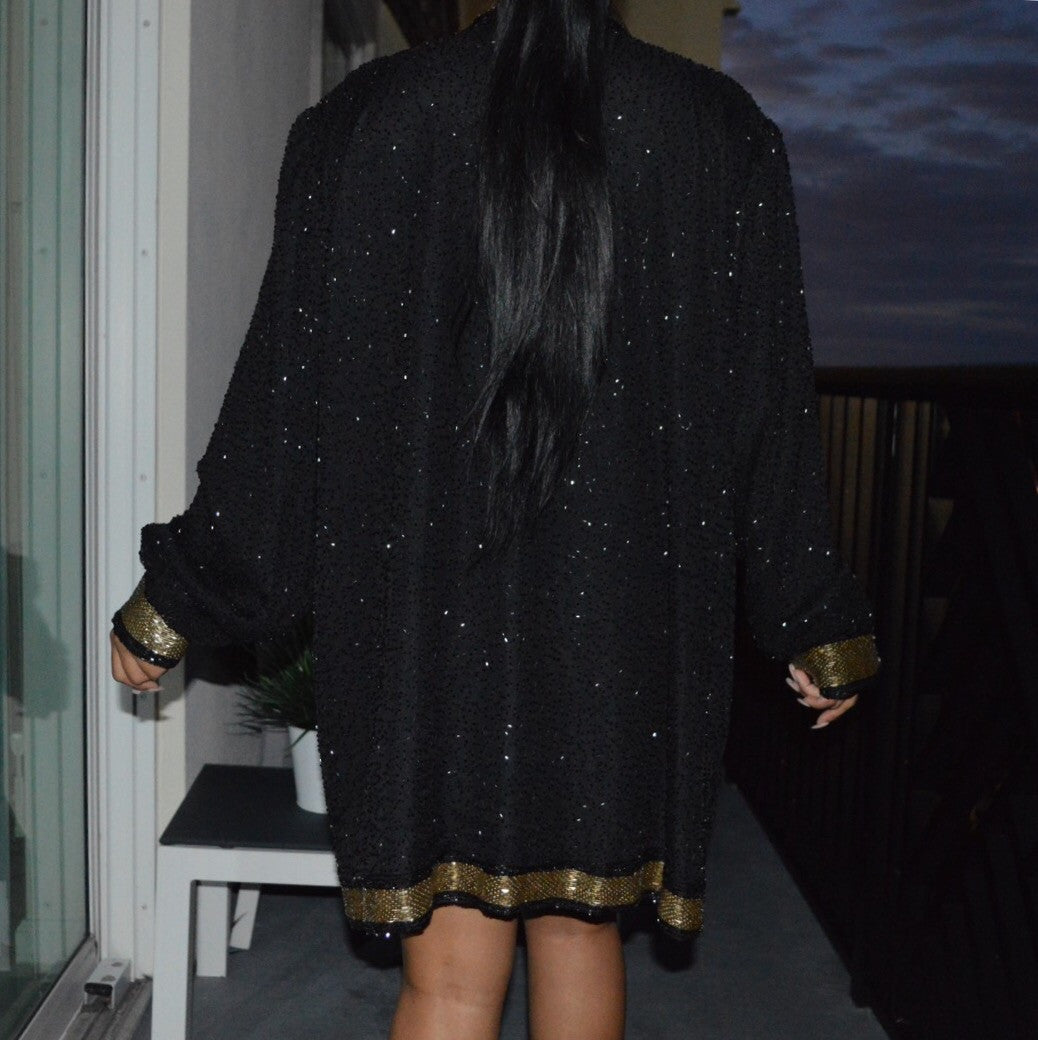 Black and Gold Mebellished tux shirt dress