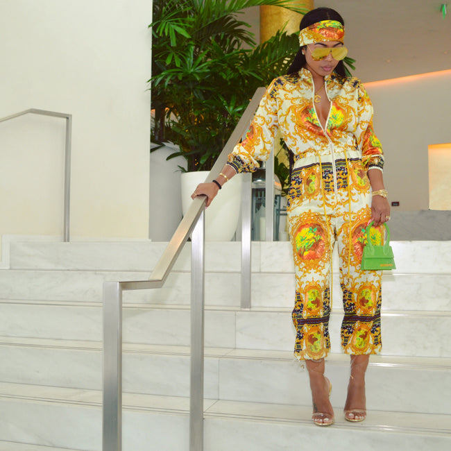 Mprinted Rich Royalty jumpsuit