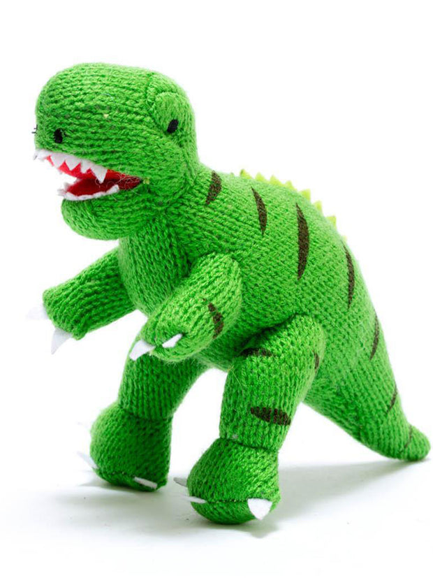 Small Green Knitted T Rex Dinosaur Rattle