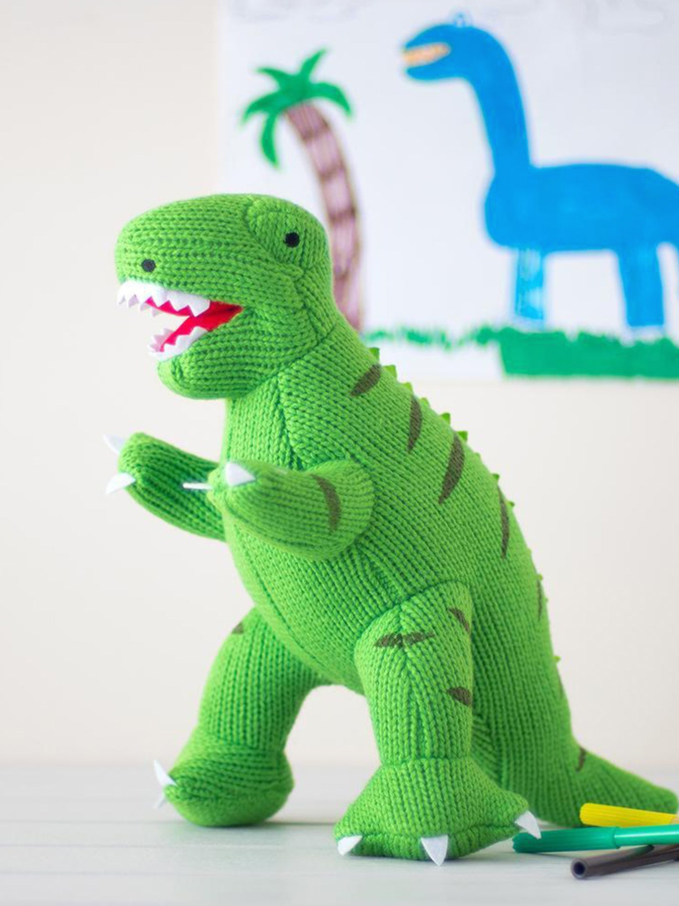 Large Green Knitted T Rex