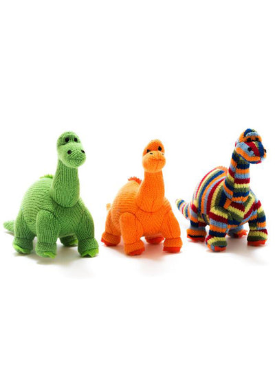 Small Green Knitted Diplodocus Dinosaur Rattle