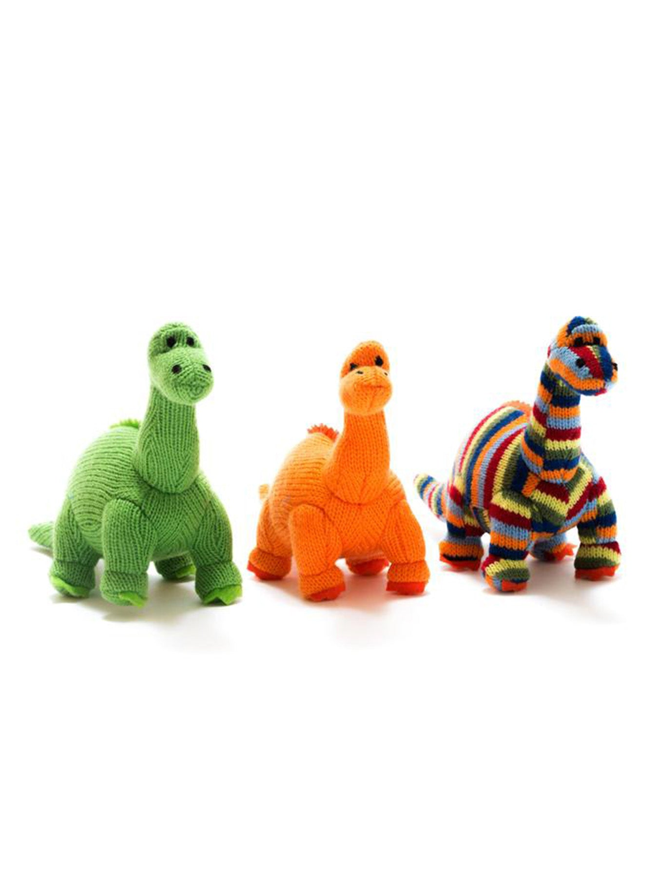 Small Striped Knitted Diplodocus Dinosaur Rattle