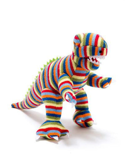 Small Striped Knitted T Rex Rattle