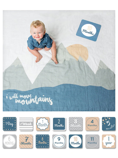 Swaddle & Milestone Cards - I Will Move Mountains