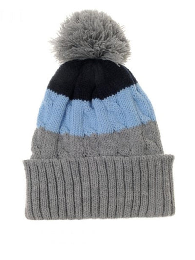 Grey, Navy & Blue Striped Hat Cable Knitted Bobble Hat