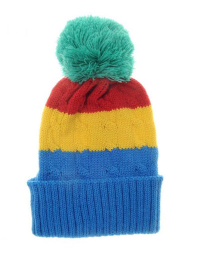 Rainbow Cable Knitted Bobble Hat