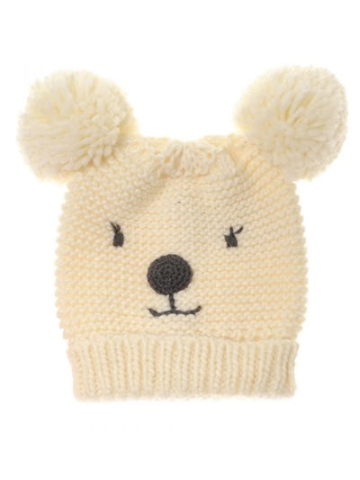 Cream Bear Bobble Hat