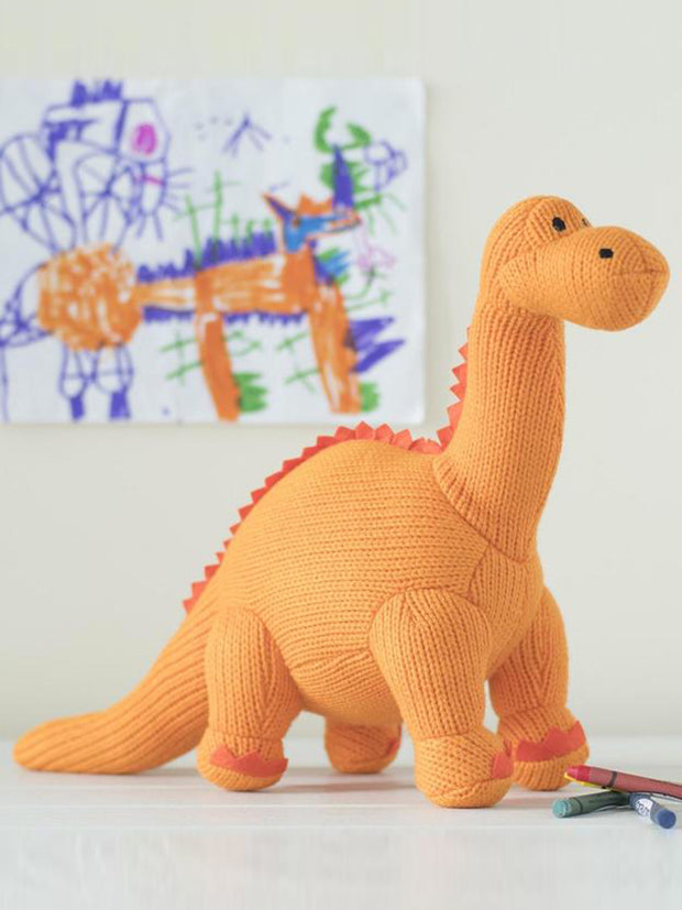 Knitted Orange Diplodocus Dinosaur