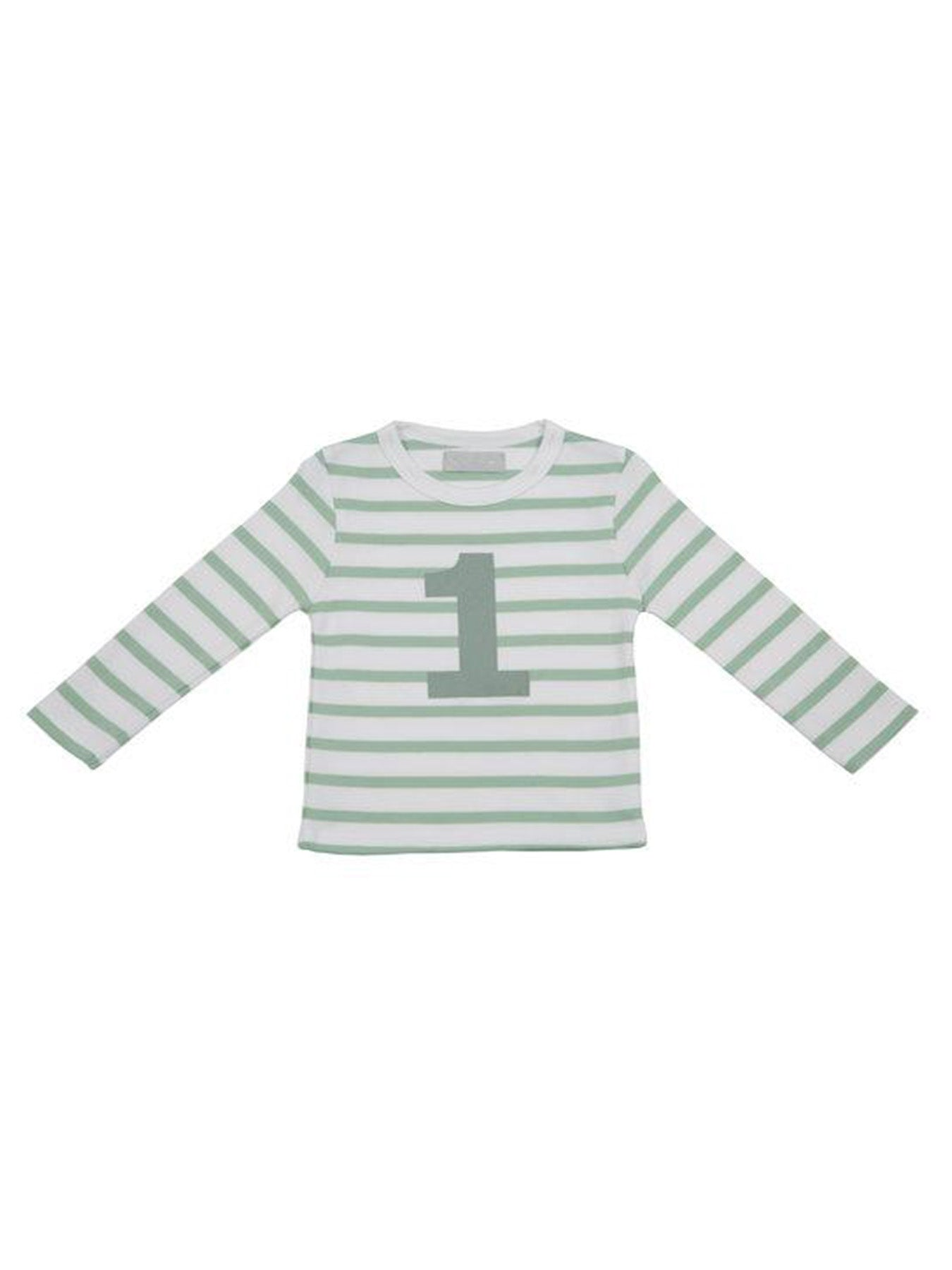 Seafoam & White Breton Striped Number T (1-2 Years)