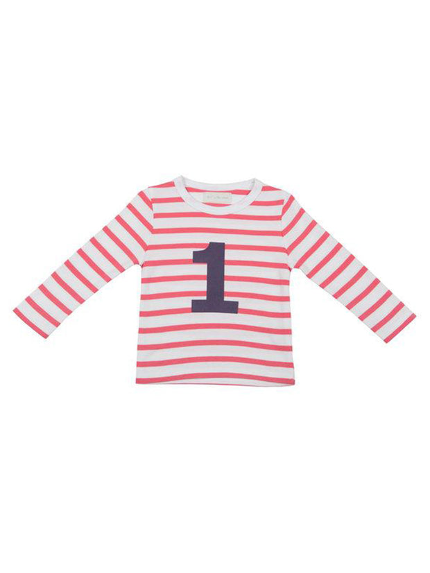 Red & White Breton Striped Number T Shirt (1/2Y)