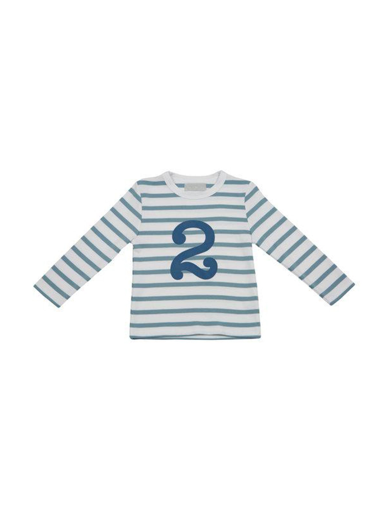 Ocean Blue & White Breton Striped Number Tee (2/3 Years)
