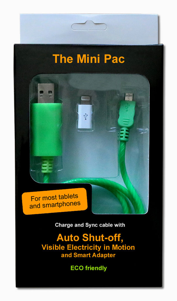 The Mini PAC is a USB charge & sync cable for smartphones and tablets with AUTO SHUT-OFF and VISIBLE ELECTRICITY IN MOTION