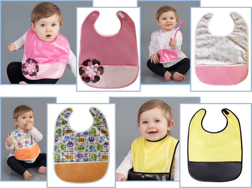 Crumb Cap Matching Bibs for easy mealtime cleanup!