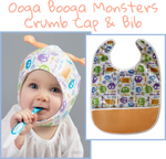 Ooga Booga Monsters - Crumb Cap Baby Hair Bib for Mealtime