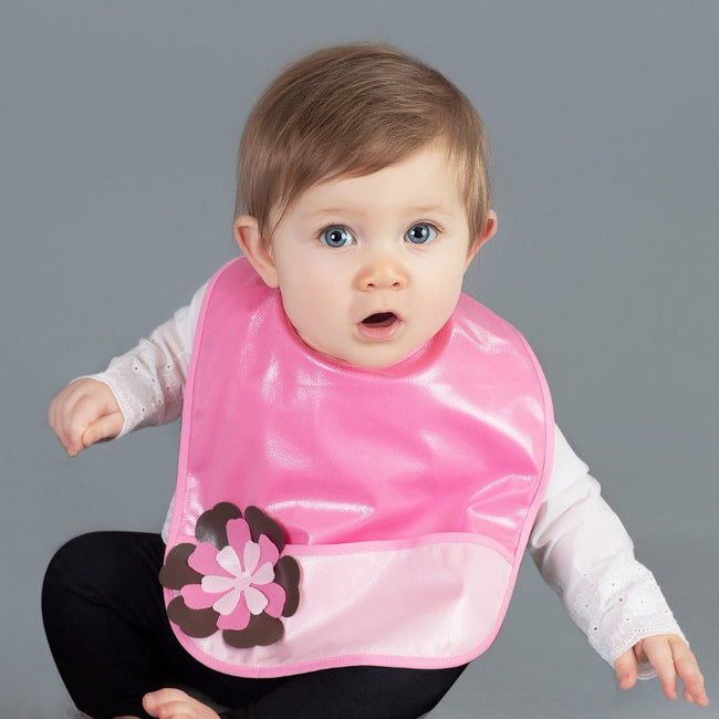 Flower Power Pocket Bib - Crumb Cap Baby Hair Bib for Mealtime
