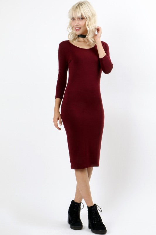 Basic Round Neck Simple Midi Dress