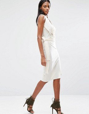 Winter White Tie Knit Dress