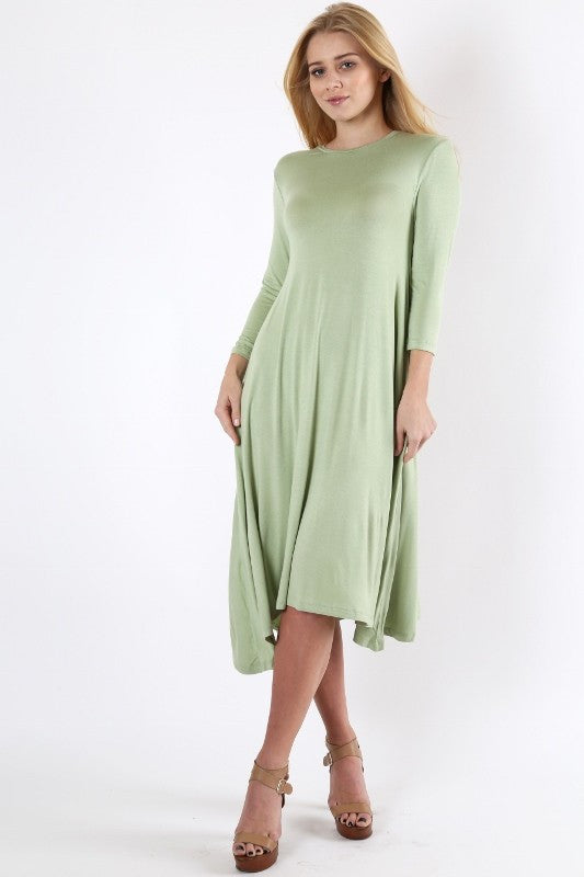 ROUND NECK MIDI DRESS BODY LENGTH