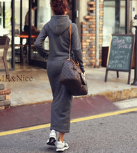 ZANZEA 2017 Autumn Winter Women Black Sweater Dress Warm Fur Fleece Hoodies Long Sleeve Maxi Long Dresses Vestidos Femininas