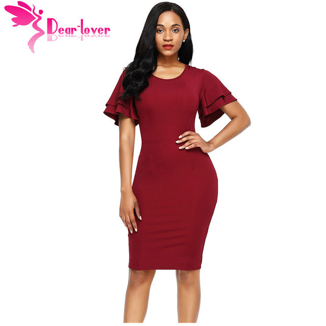 Dear Lover Tunic Dresses Work Business Ladies Short Flare Sleeve Back Slit Sheath Bodycon Dress Vestidos Casual 6 Colors LC61671